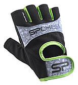 Перчатки спортивные велоперчатки женские Spokey ELENA II 921313 черные с салатовым L