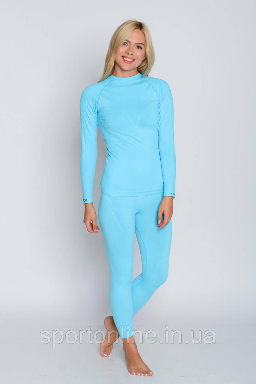 Термобелье женское спортивное Tervel Comfortline (original), комплект, зональное, бесшовное голубое