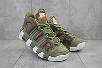 Мужские кроссовки кожа весна/осень хаки-белые Nike Uptempo