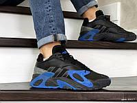 Мужские кроссовки черные с синим Streetball 8817