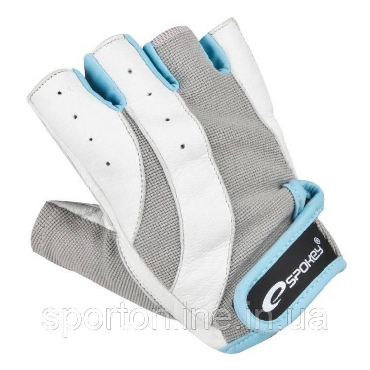 Спортивные перчатки для фитнеса и катания на велосипеде Spokey ZOE 838293 белые с серым