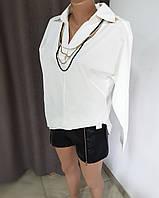 Белая рубашка из качественной плотной ткани с гипюровой вставкой на спине