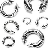 Циркуляр (подкова) из стали с шипами PiercedFish HS02 для пирсинга септума, трагуса и хеликса, брови, носа,