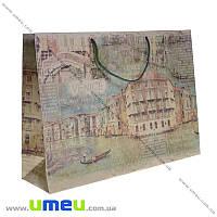 Подарочный пакет из крафт бумаги, 26х36х10 см, Венеция, 1 шт (UPK-019041)