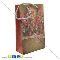 Подарочный пакет из крафт бумаги, 18х11х5 см, Роза, 1 шт (UPK-019028)