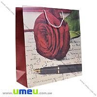 Подарочный пакет из крафт бумаги, 37х35х13 см, Роза, 1 шт (UPK-019042)