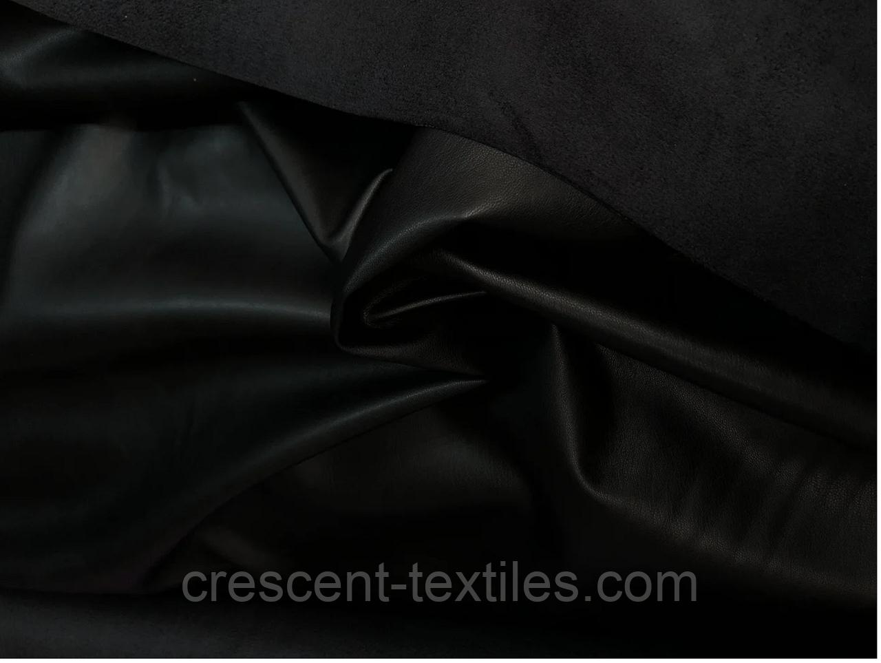 Ткань Кожа на замш (Черный)