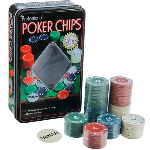 Фишки для покера, фишки с номиналом в металл коробке набор, 100 шт