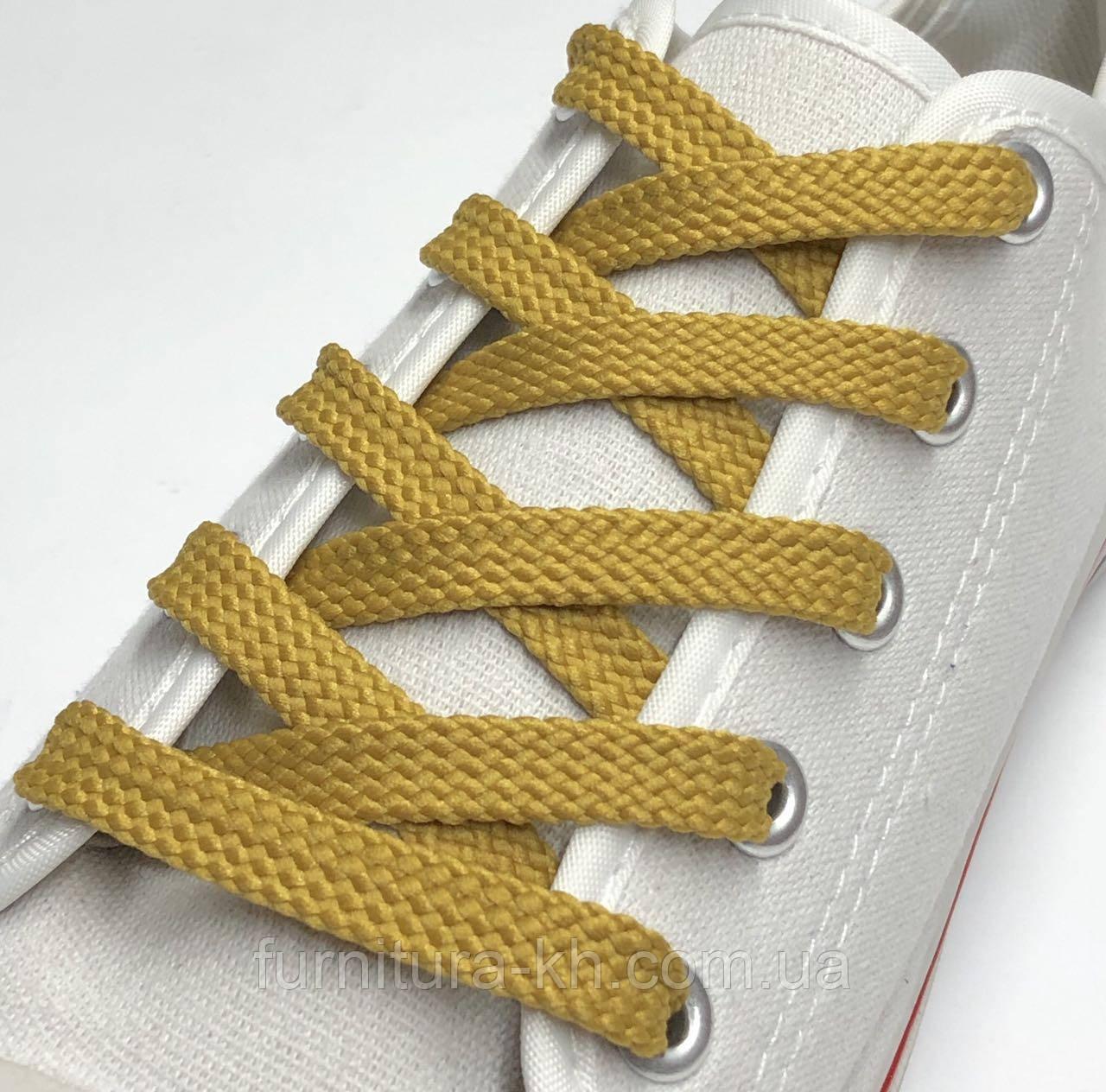 Шнурок Простой Плоский Длинна 1,2 м  цвет Светло Рыжий   (ширина 7 мм)