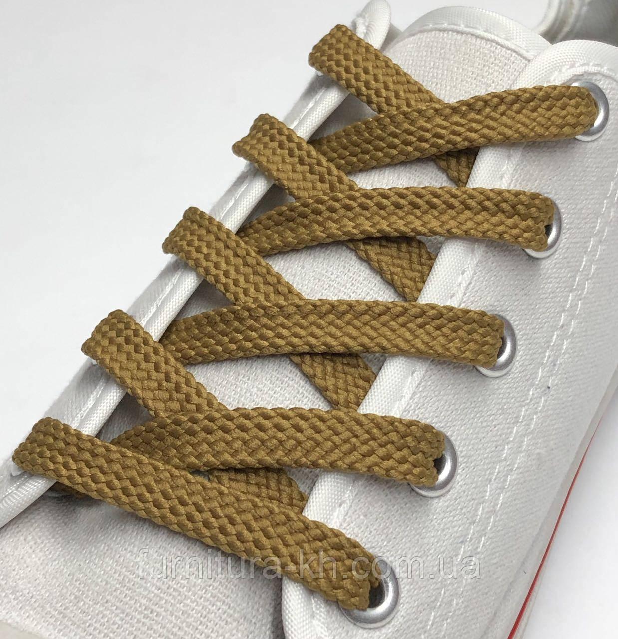 Шнурок Простой Плоский Длинна 1,5 м  цвет Темно Рыжий (ширина 7 мм)