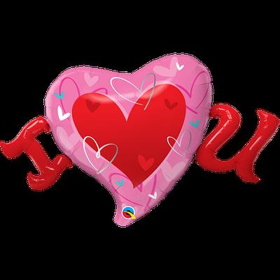 """Q 46"""" I Love You Красное сердце Я люблю тебя"""