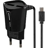 Сетевое зарядное устройство Gelius Pro Edition Auto ID 2USB + Cable MicroUSB 2.4A Black