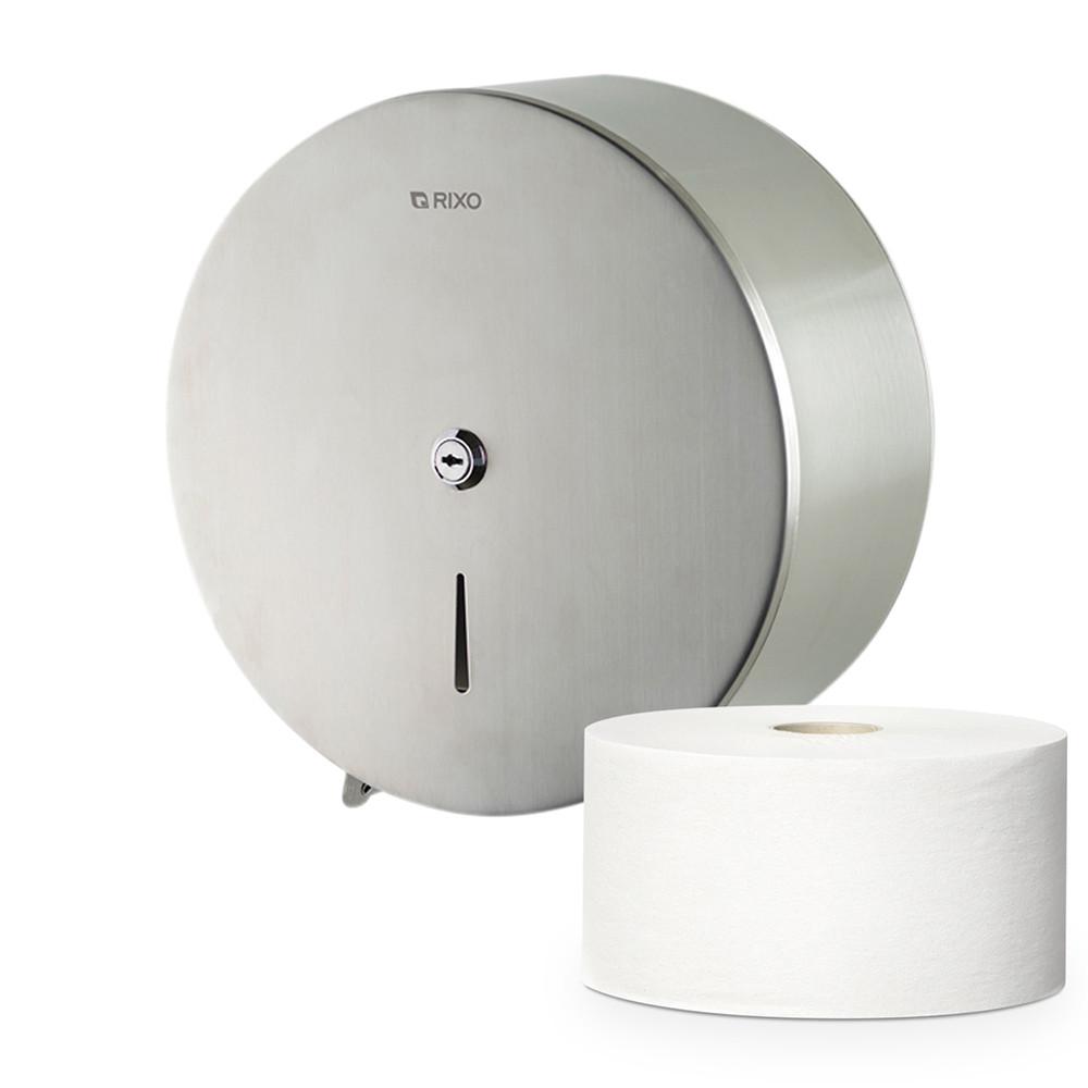 Диспенсер для туалетной бумаги в стандартных и джамбо рулонах из нержавеющей стали Rixo Solido P005 подвесной