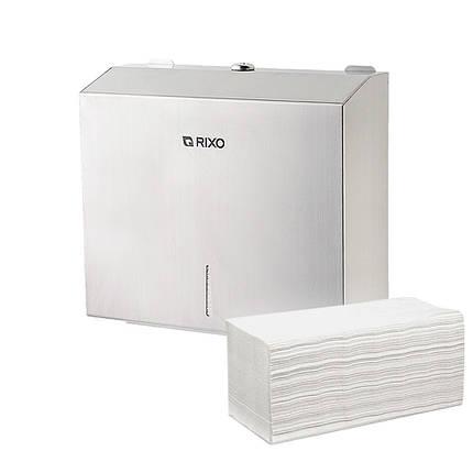 Диспенсер из нержавеющей стали для листовых бумажных полотенец Z сложения Rixo Solido P134 настенный, фото 2