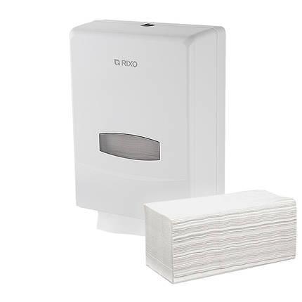Диспенсер держатель листових паперових рушників Z W складання Rixo Grande P135W білий пластиковий ударостійкий, фото 2