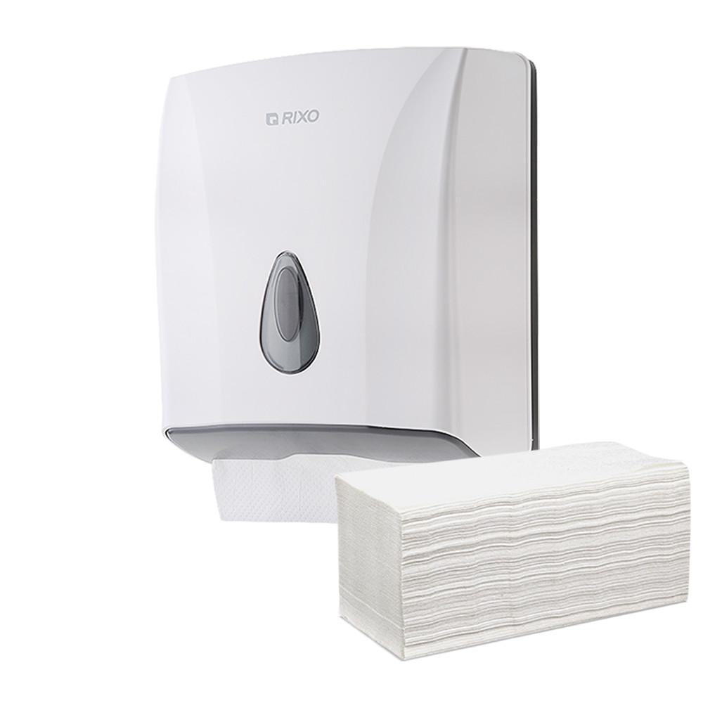 Держатель листовых бумажных полотенец V и ZZ сложения Rixo Maggio P228W белый пластиковый с замком