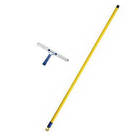 Швабра для миття вікон зі сталевою ручкою 1,3 м і сталевим прогумованим сгоном для води 35 см з різьбою