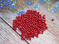 Бусины стеклокерамика, d 4 мм, (~225 шт), цвет красный