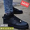 """Зимние мужские кроссовки Nike Air Force 1 High """"Black"""" черные кожаные с мехом. Фото в живую. Реплика"""