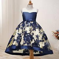 Очень нарядное платье на праздник, на день рождение, на выпуск. Детское нарядное платье синий цвет!
