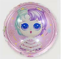 Шар фольгированный круглый Куклы Лол с тортиком (Китай)