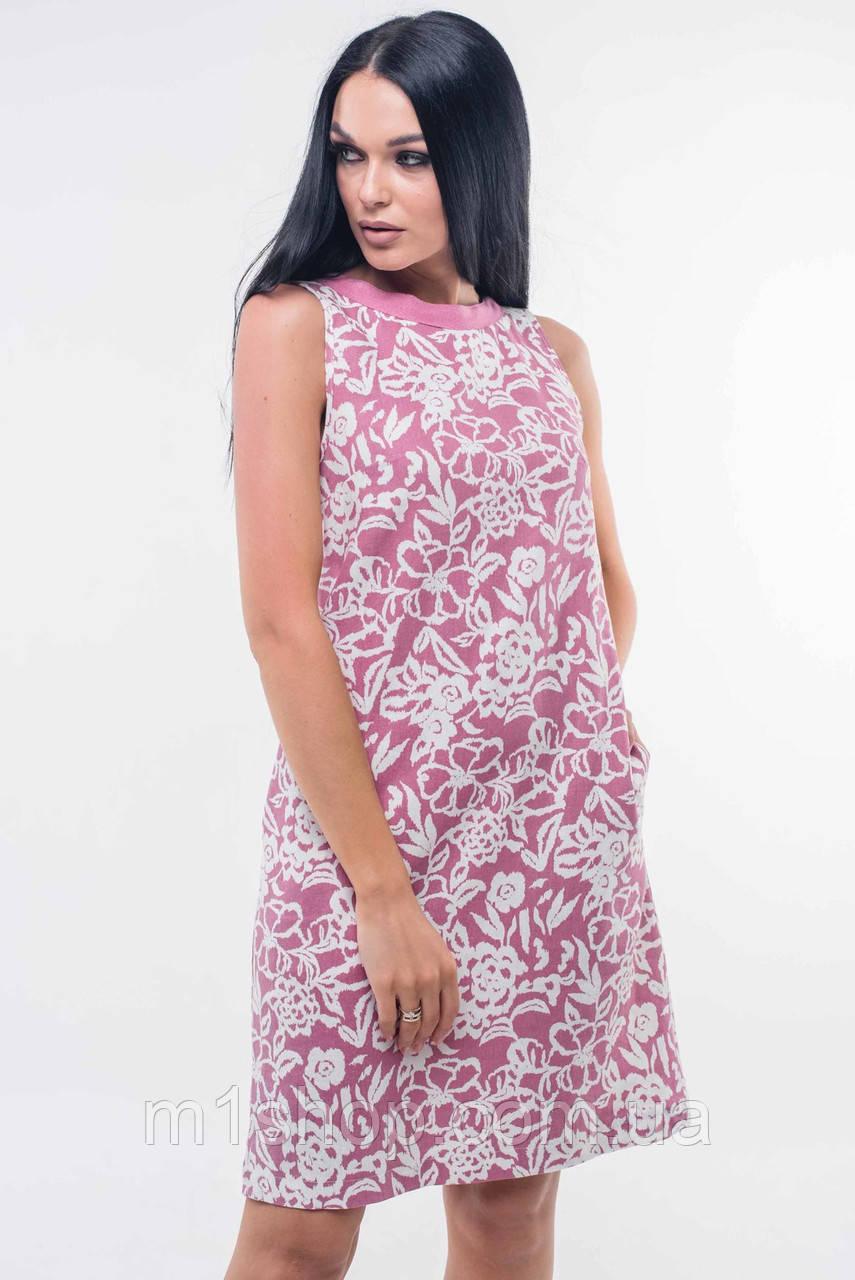 Короткое льняное платье без рукавов (Отти ri)