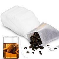 100x Фильтр пакет для заваривания чая трав, чайный пакетик c затяжкой (04873)