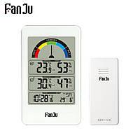 Метеостанция FanJu FJ3356 с внешним беспроводным датчиком. Термометр, гигрометр, уровень комфорта. Белый цвет