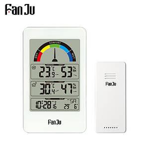 Метеостанція FanJu FJ3356 з зовнішнім бездротовим датчиком. Термометр, гігрометр, рівень комфорту. Білий колір