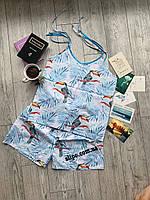 "Пижама Натуральная ""Птички Blue"", одежда для дома и сна S M L XL"
