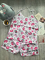 "Піжама, одяг для дому та сну ""Пташечки Pink""  Пижама Натуральная, одежда для дома и сна S M L XL"