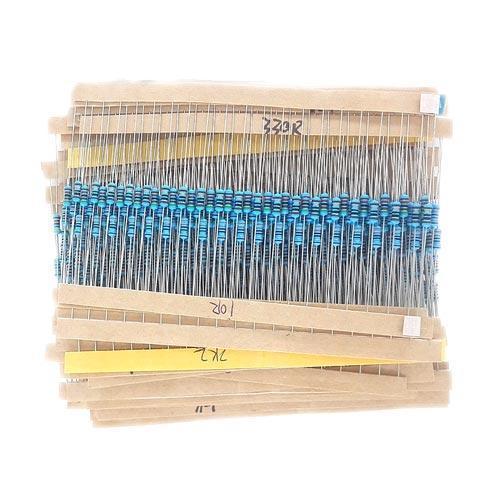 Резистор 1/4Вт MF 1% 10Ом-1МОм набор, 600 шт