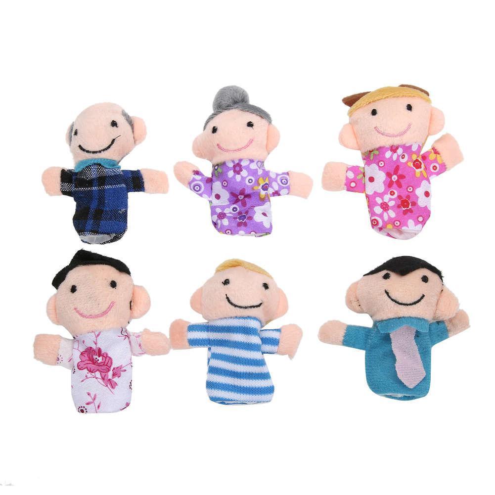 Мягкая игрушка на палец семейка, кукольный театр набор, 6 шт