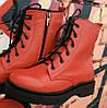 Боты!!! Dr. Martens!  Женские  кожаные ботинки на шнуровке с толстой масивной подошвой  красные мартенсы