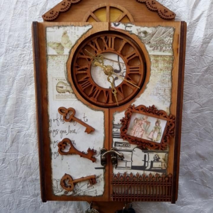Ключниця Вінтаж з годинником