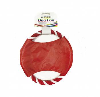 Игрушка для собак CROCI нейлоновый фрисби с канатом, красный, 23см