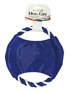 Игрушка для собак CROCI нейлоновый фрисби с канатом, синий, 23см
