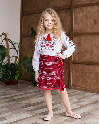 """Вышиванка для девочек красная """"Незабудка"""", фото 2"""