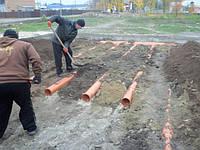 Укладка труб для подогрева грунта