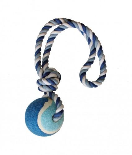 Игрушка для собак CROCI канат грейфер с петлей и мячиком, голубой, 6см / 40см
