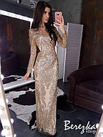 Длинное платье по фигуре из сетки с блестками и длинным рукавом r6603672E