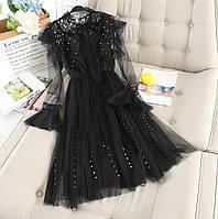 Красивое нарядное женское  платье с шифоном и бусинами цвет черный