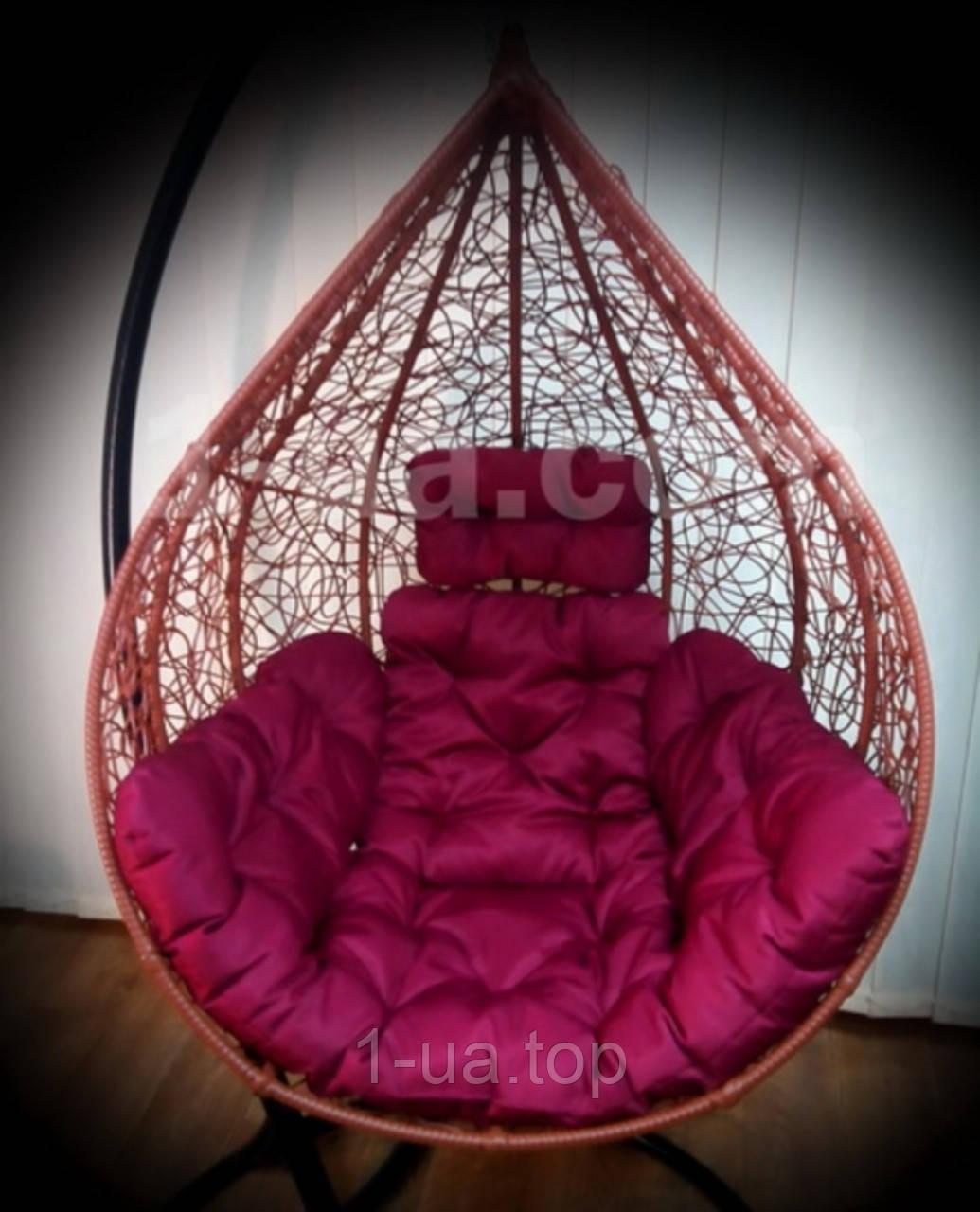 Бордовая подушка для подвесного кресла кокон, подушка для подвесной качели.