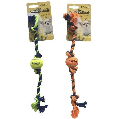 Игрушка для мелких собак CROCI мини тенисный мяч на канате, оранжевый, 16см