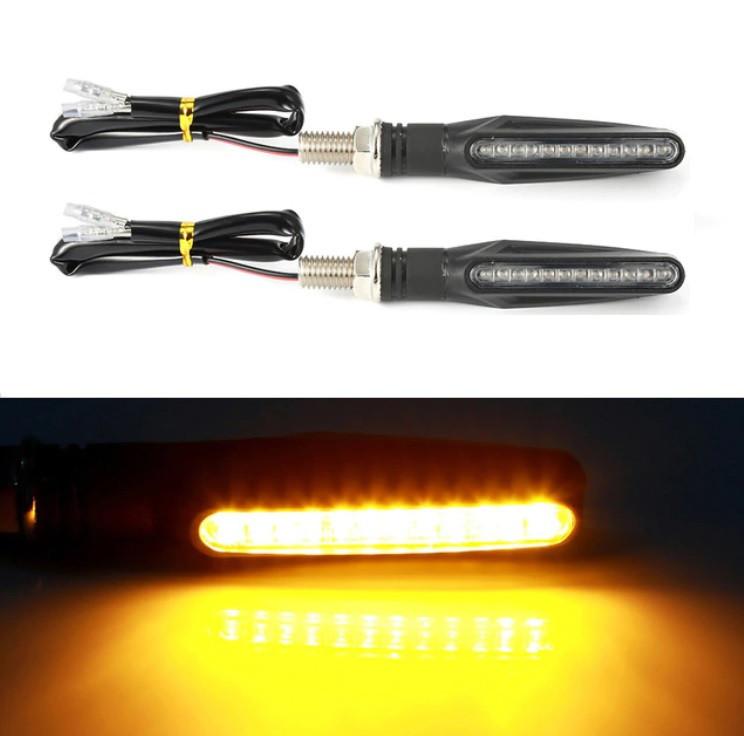 LED указатель поворота для мотоцикла, мотоповоротники динамические, пара