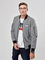 Мужская весенняя куртка бомбер Riccardo Б3 Светло-серый
