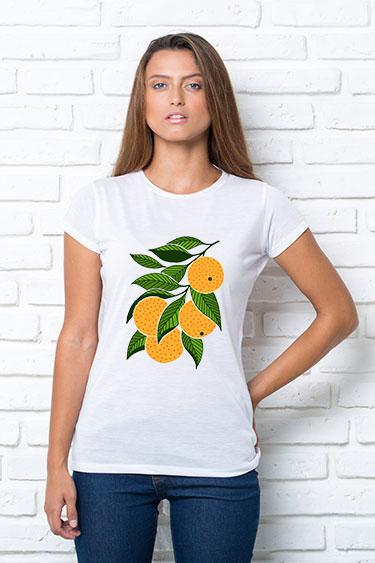 Футболка женская с принтом Апельсин