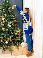 Женский вязаный удлиненный свитер с новогодним узором r3KF791