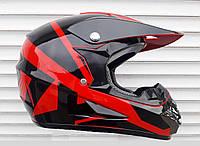 Кроссовый мото шлем Fox красно чёрный + текстильная маска