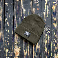 Мужская шапка Nike (Найк) хаки, зимняя